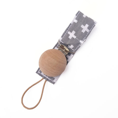 Grey swiss cross wooden dummy clip for baby