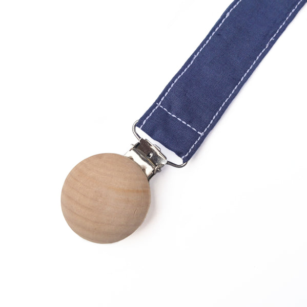 Baby Pacifier clip in navy blue