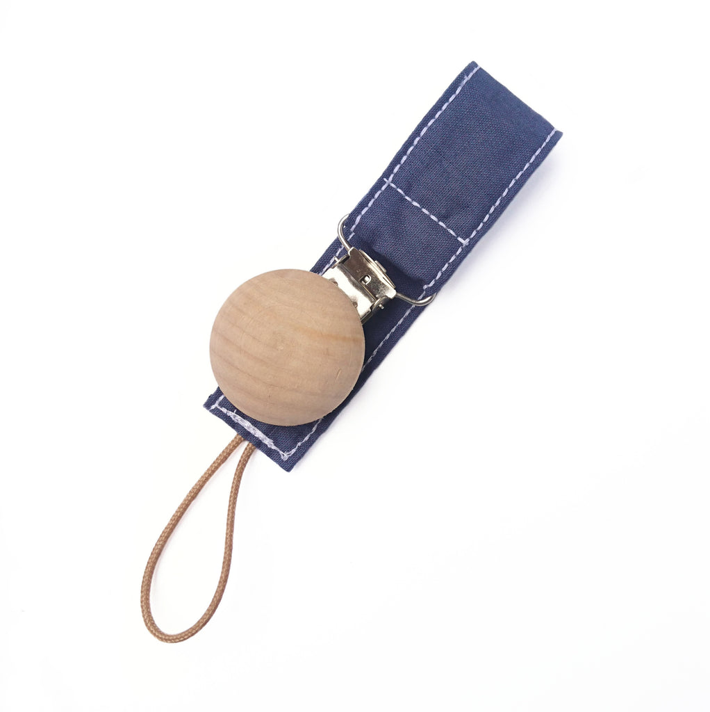 Navy blue wooden dummy clip for babies
