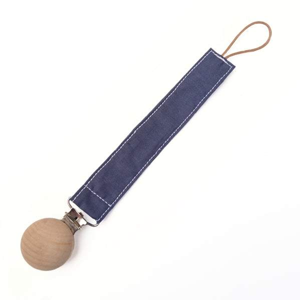 Baby boy dummy clips in dark navy blue