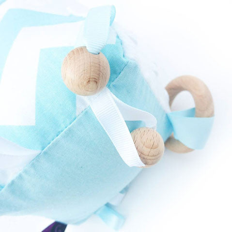 baby blue cube sensory tag toy for boys