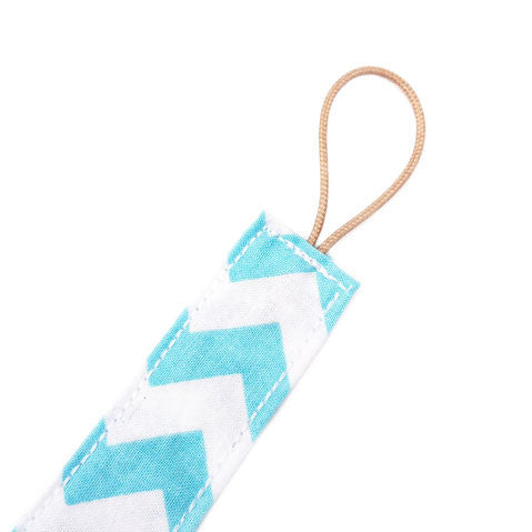 Blue zigzag dummy clip for babies
