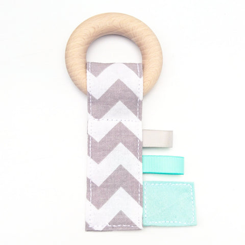Mint and grey chevron zig zag baby crinkle key beech wood teething ring taggie toy by KawaiiDezigns