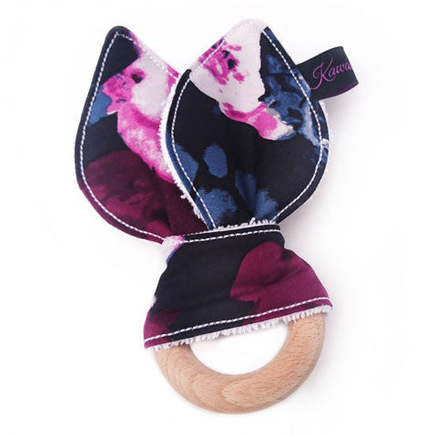 Midnight bloom floral bunny eared teether toy with beech wood ring