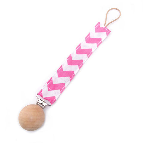 Pink chevron baby pacifier holder