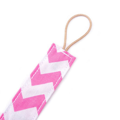 Pink chevron universal dummy clip for girls