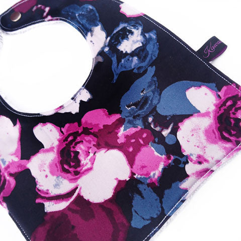 Midnight bloom floral baby and toddler bib