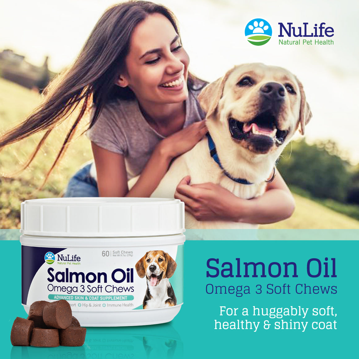 Salmon Oil Omega 3 Soft Chews, 60 cnt