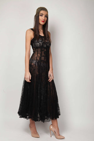 Black vintage lace dress - SoLovesVintage