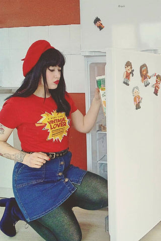 Shannon is a  vintage lover wears our red vintage inspired t-shirt