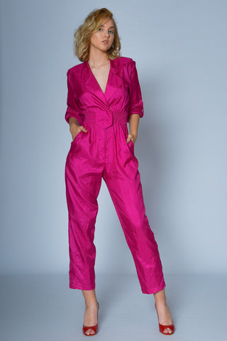 Vintage neon pink jumpsuit now online - SoLovesVintage