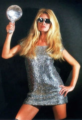 Brigitte Bardot in a vintage mini sparkling dress