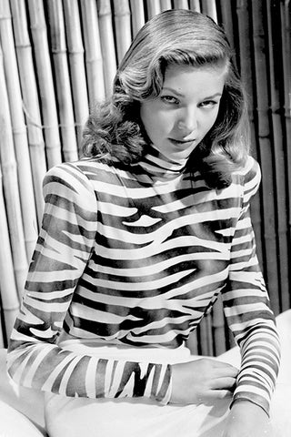 Lauren Bacall in a zebra animal print top - SoLovesVintage