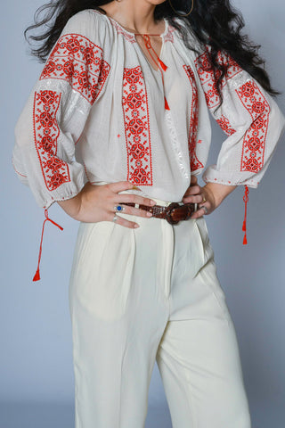 Vintage Hungarian gauze cotton embroidered top - Shop SoLovesVintage