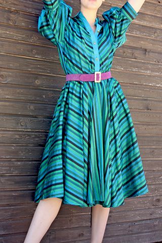 Vintage silk striped green dress - Shop SoLovesvintage online
