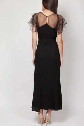 Black vintage crepe dress