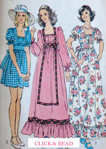 Vintage patterns of prairie dresses - Read on SoLovesVintage