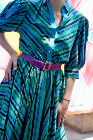 Vintage silk striped dress - Shop SoLovesVintage online