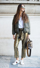 Street style and how to wear a gold trousers