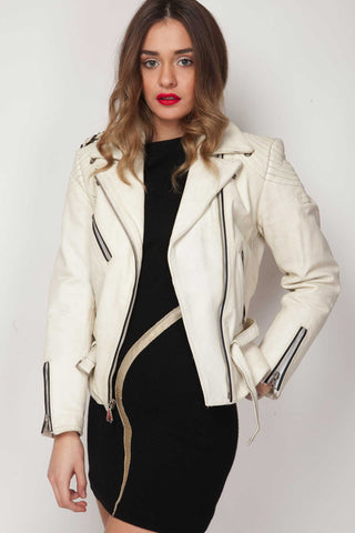 Shop white vintage leather jacket