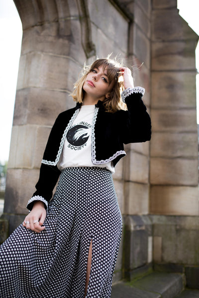 Sophia Barrese, a Manchester fashion blogger wearing a black SoLovesVintage Jacket