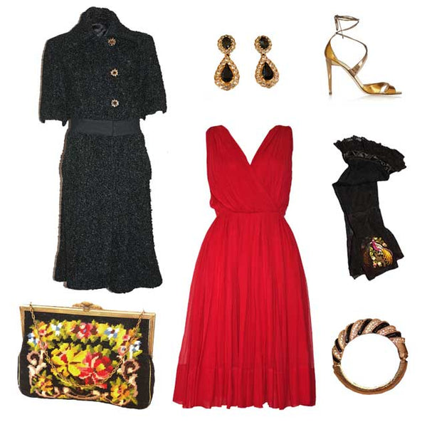 Vintage outfit with a retro red vintage dress