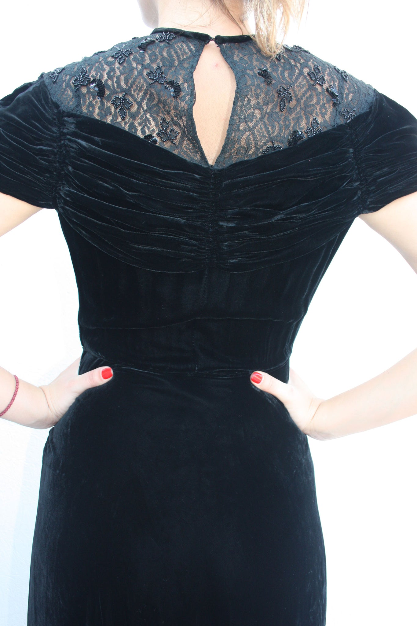 20's silk velvet black gown - Shop SoLovesVintage