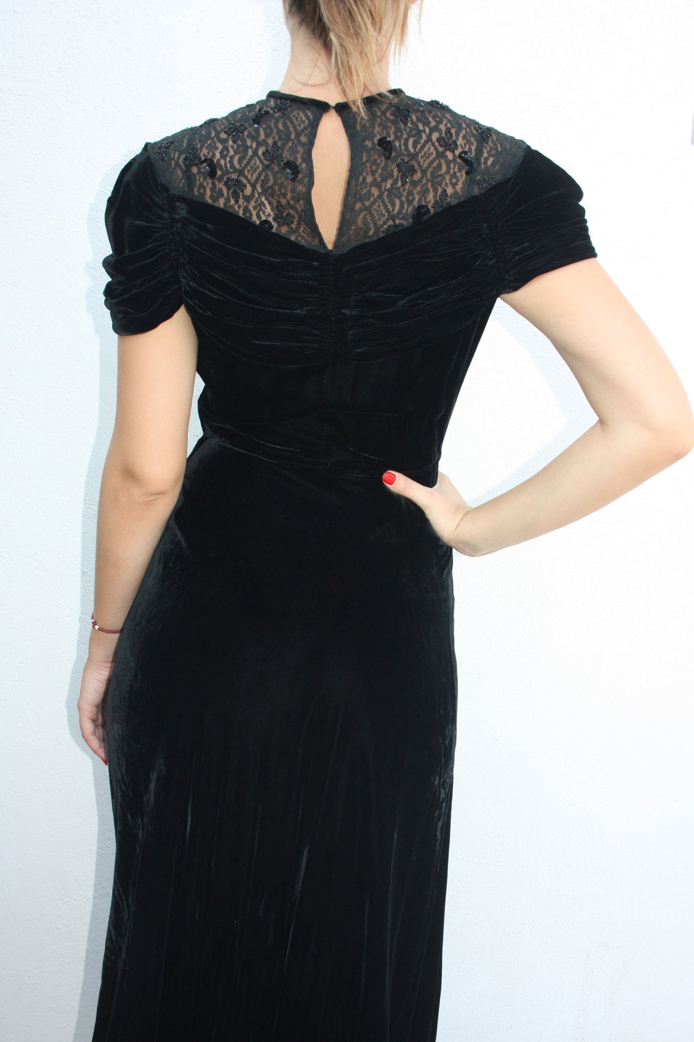30's silk velvet black gown - Shop SoLovesVintage