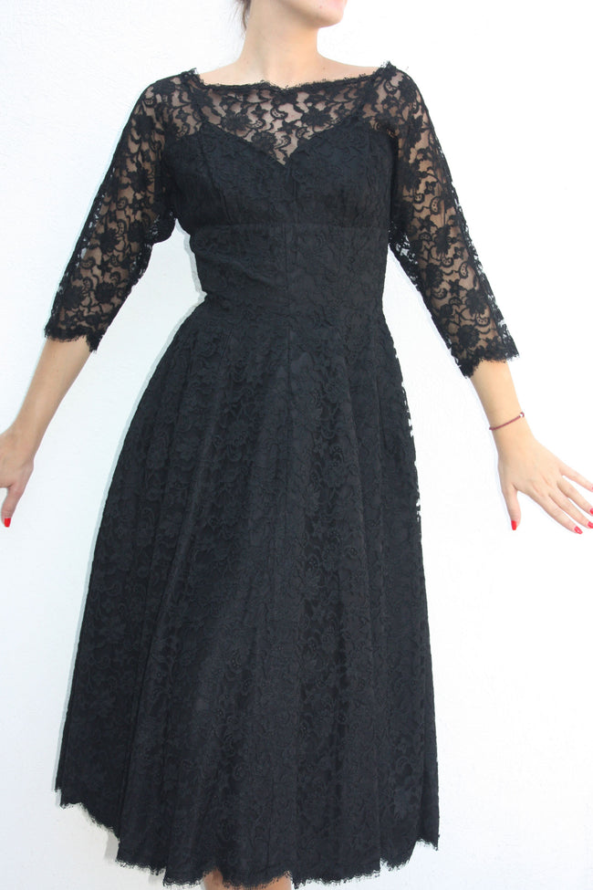 Vintage 40's black lace dress - Shop SoLovesVintage