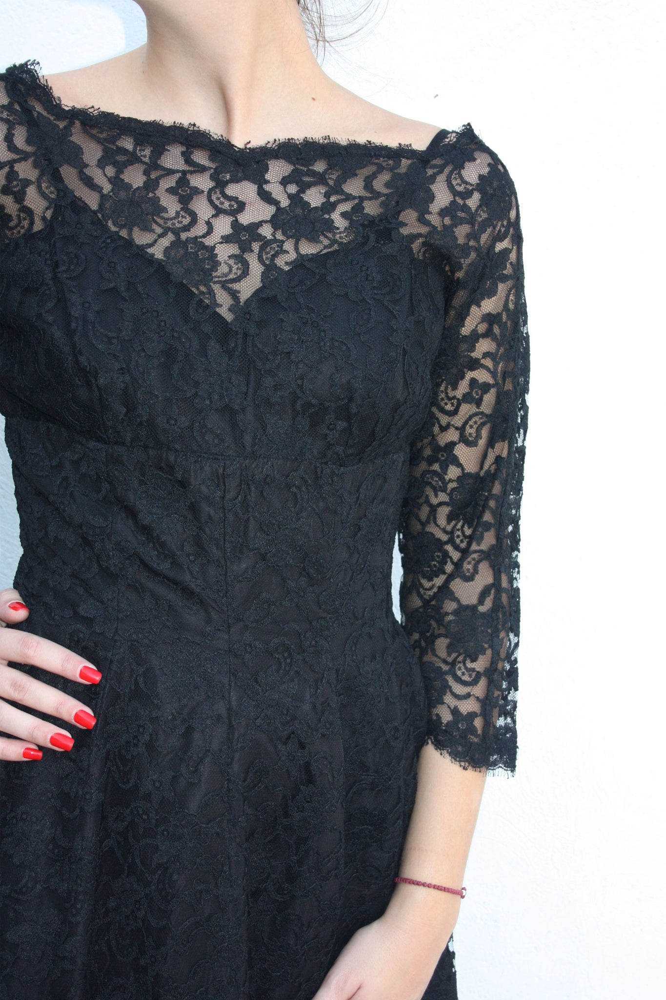 50's black vintage lace dress - Shop SoLovesVintage