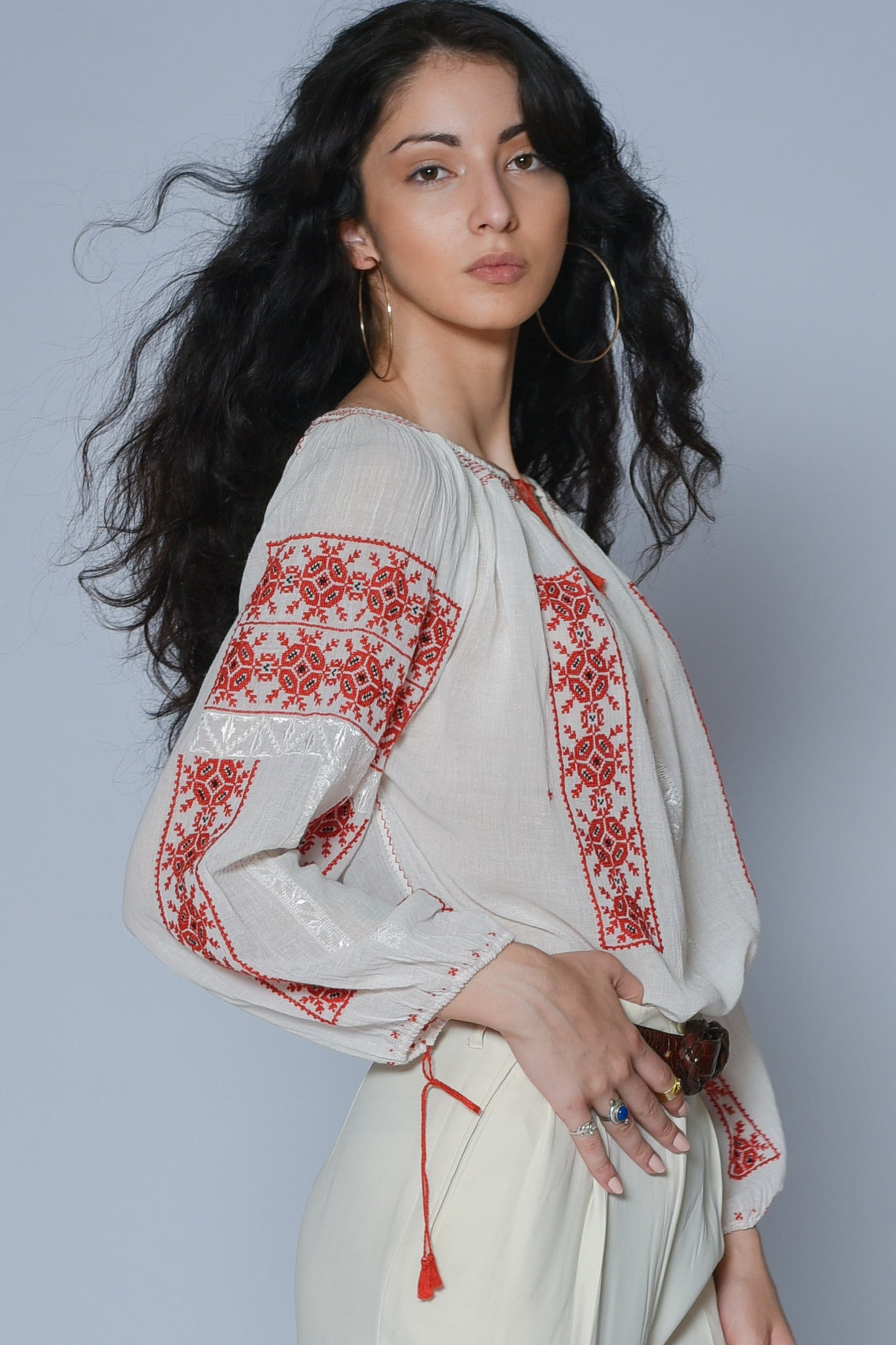 Alexa embroidered gauze blouse