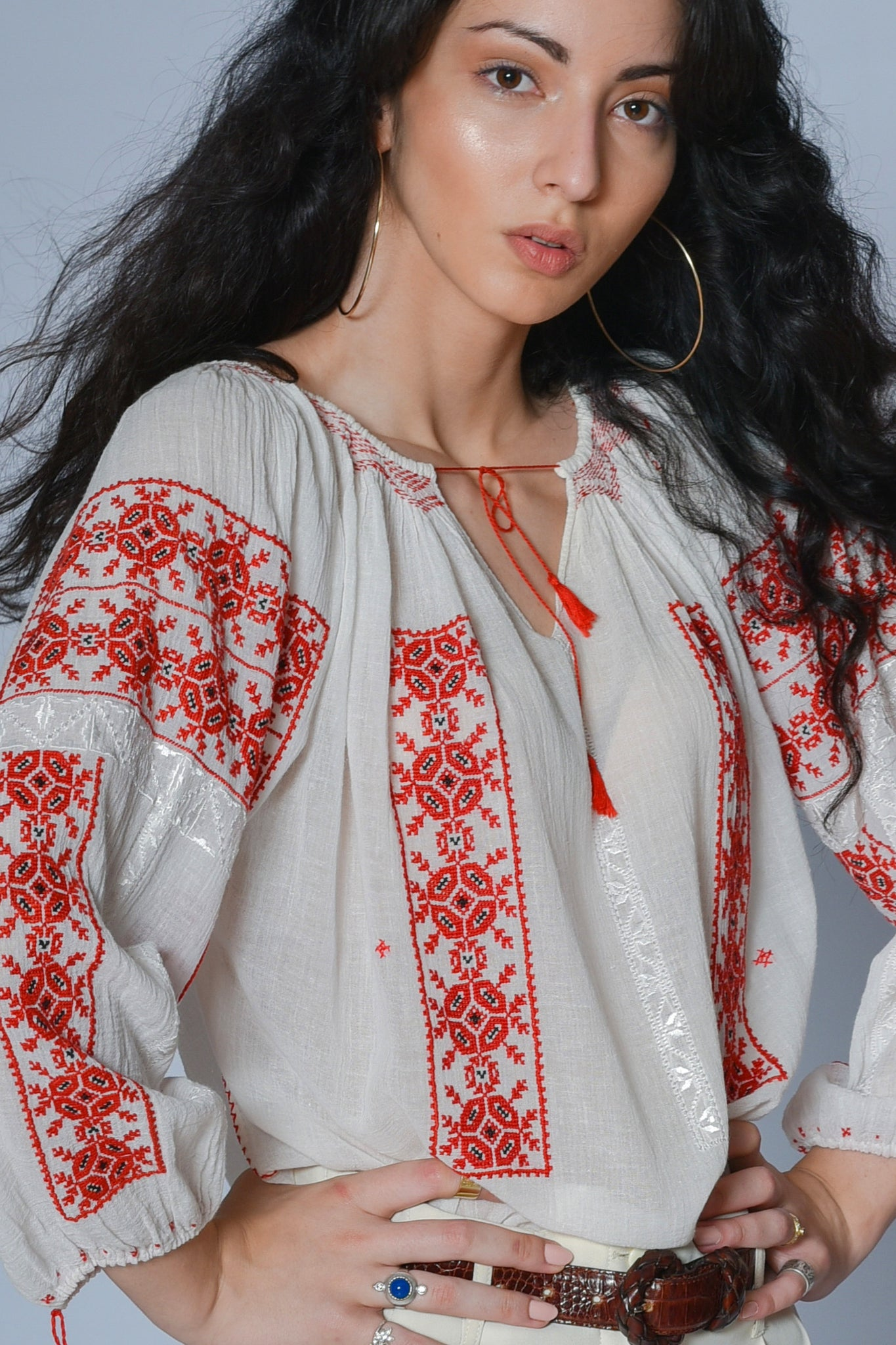 Vintage Alexa embroidered gauze blouse