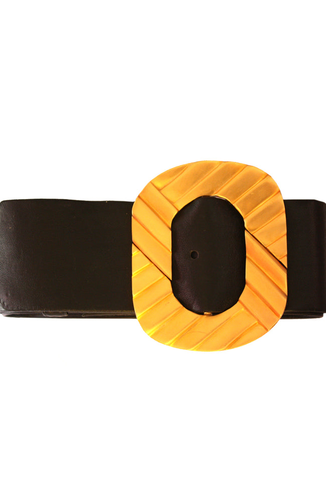 Vintage Alexis Kirk black leather belt with gold buckle - SoLovesVintage