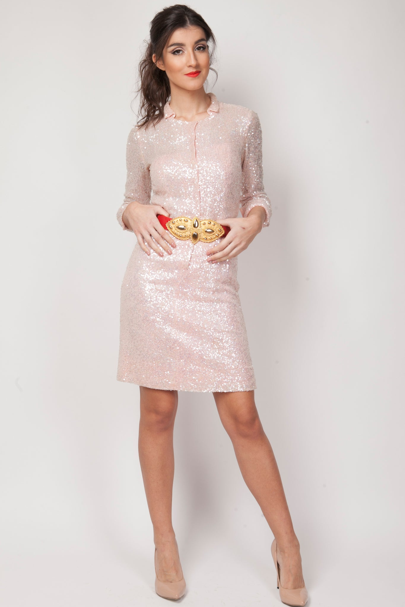 Vintage sequin dress in pink - SoLovesVintage
