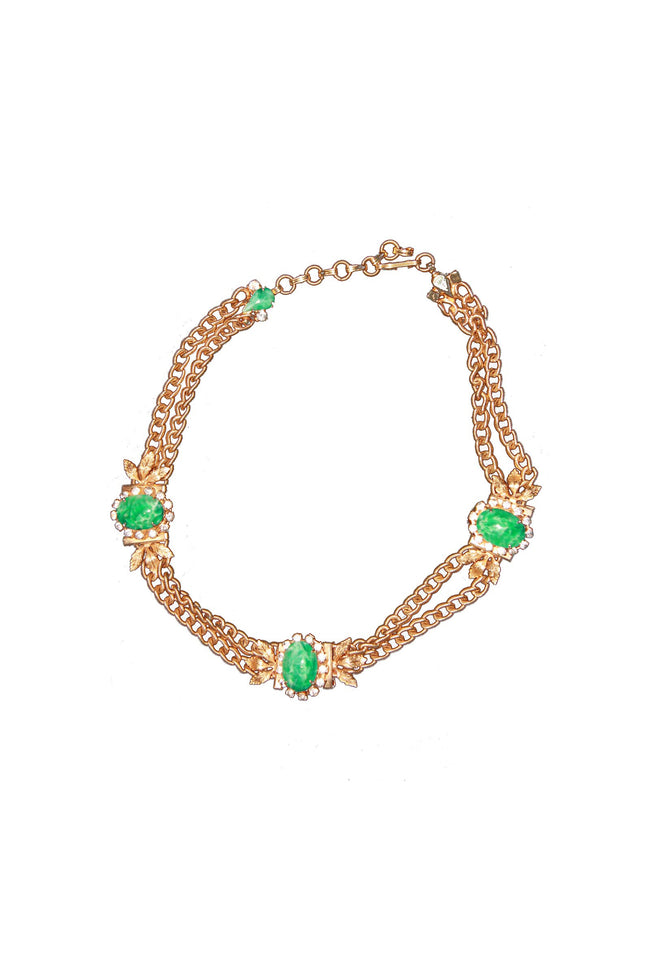 Vintage gold and green necklace - SoLovesVintage