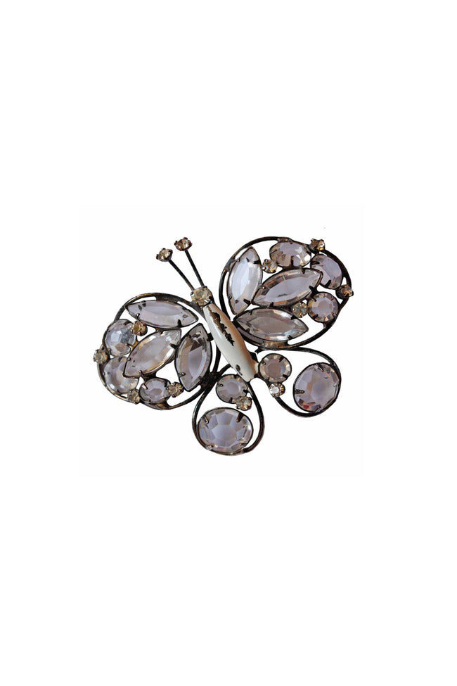 Vintage 40's butterfly beaded brooch - SoLovesVintage
