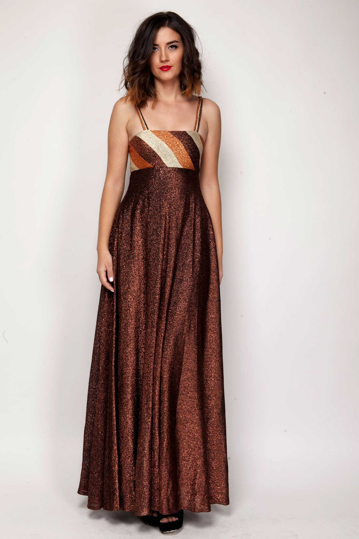 Dahlia maxi metallic dress