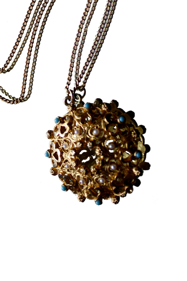 60's gold vintage necklace - SoLovesVintage