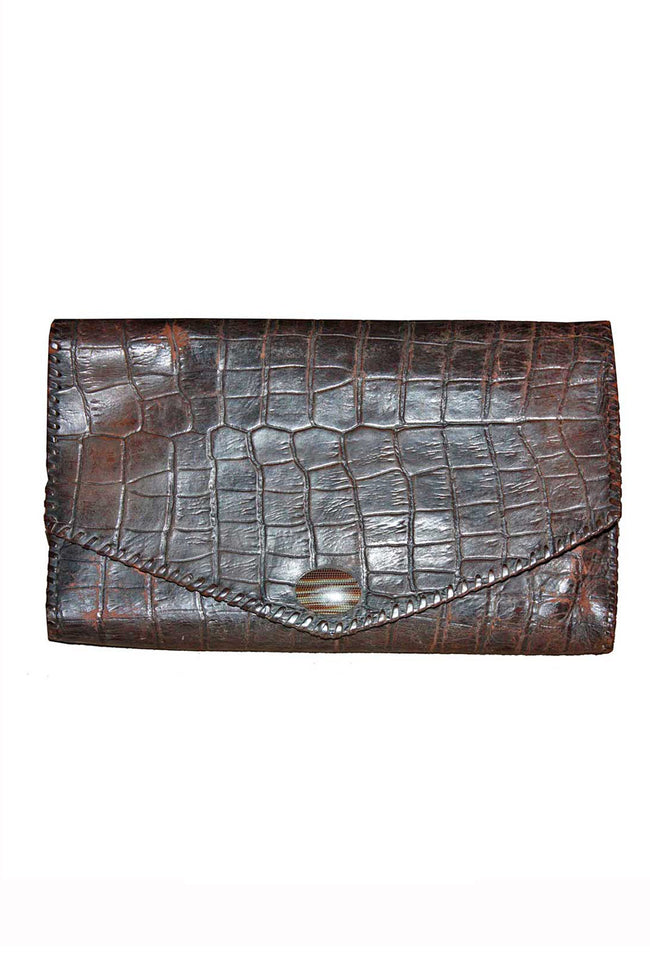 Vintage crocodile clutch handbag - SoLovesVintage