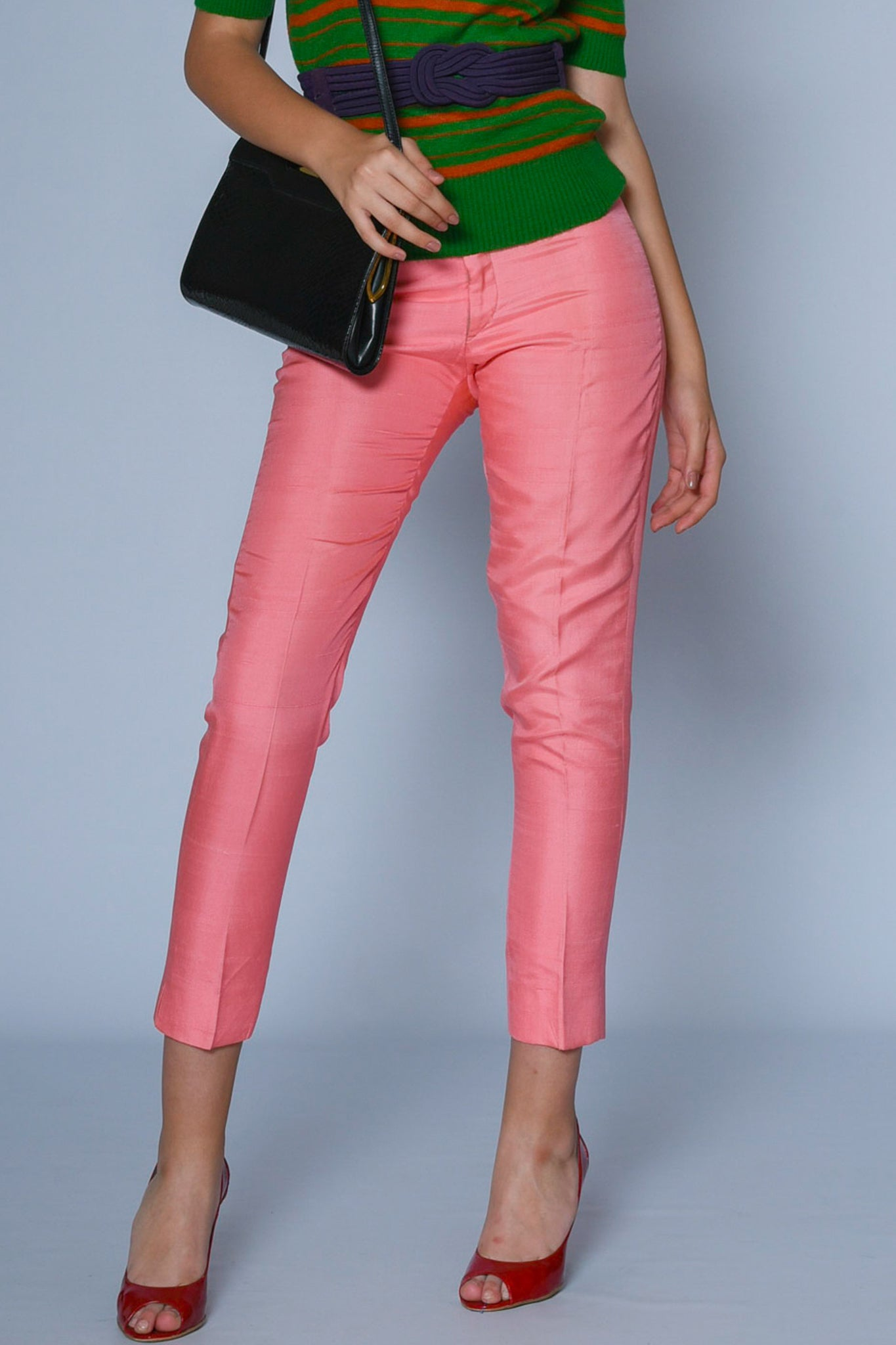 Vintage Oleg Cassini pink silk-satin trousers - SoLovesVintage