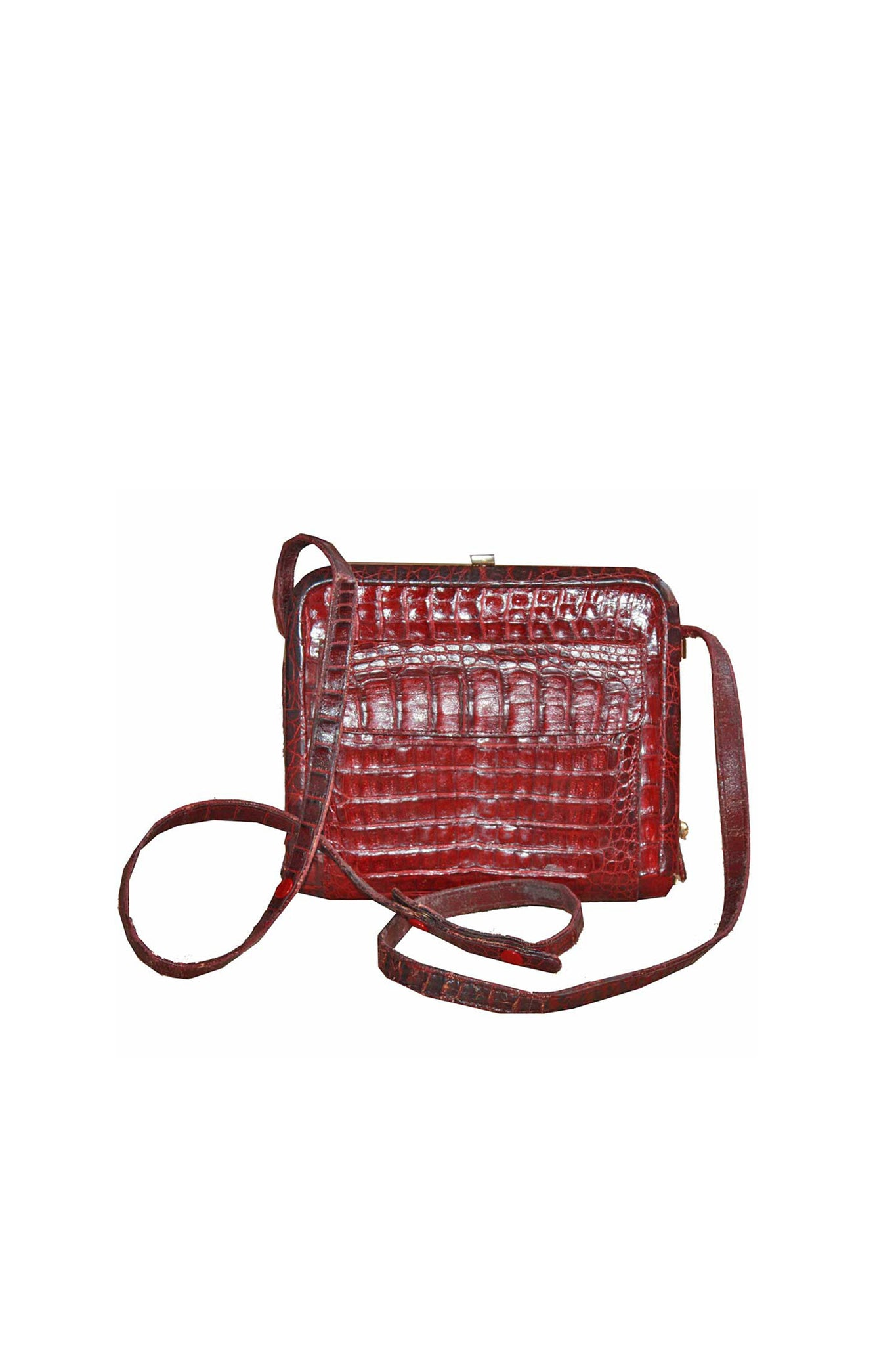 Vintage leather croc handbag - SoLovesVintage
