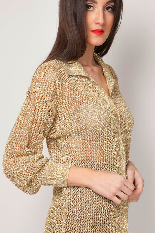 Vintage Lorna gold mesh top