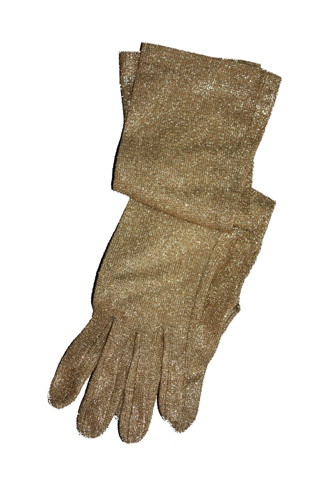 Vintage 50's lurex gold long gloves - SoLovesVintage