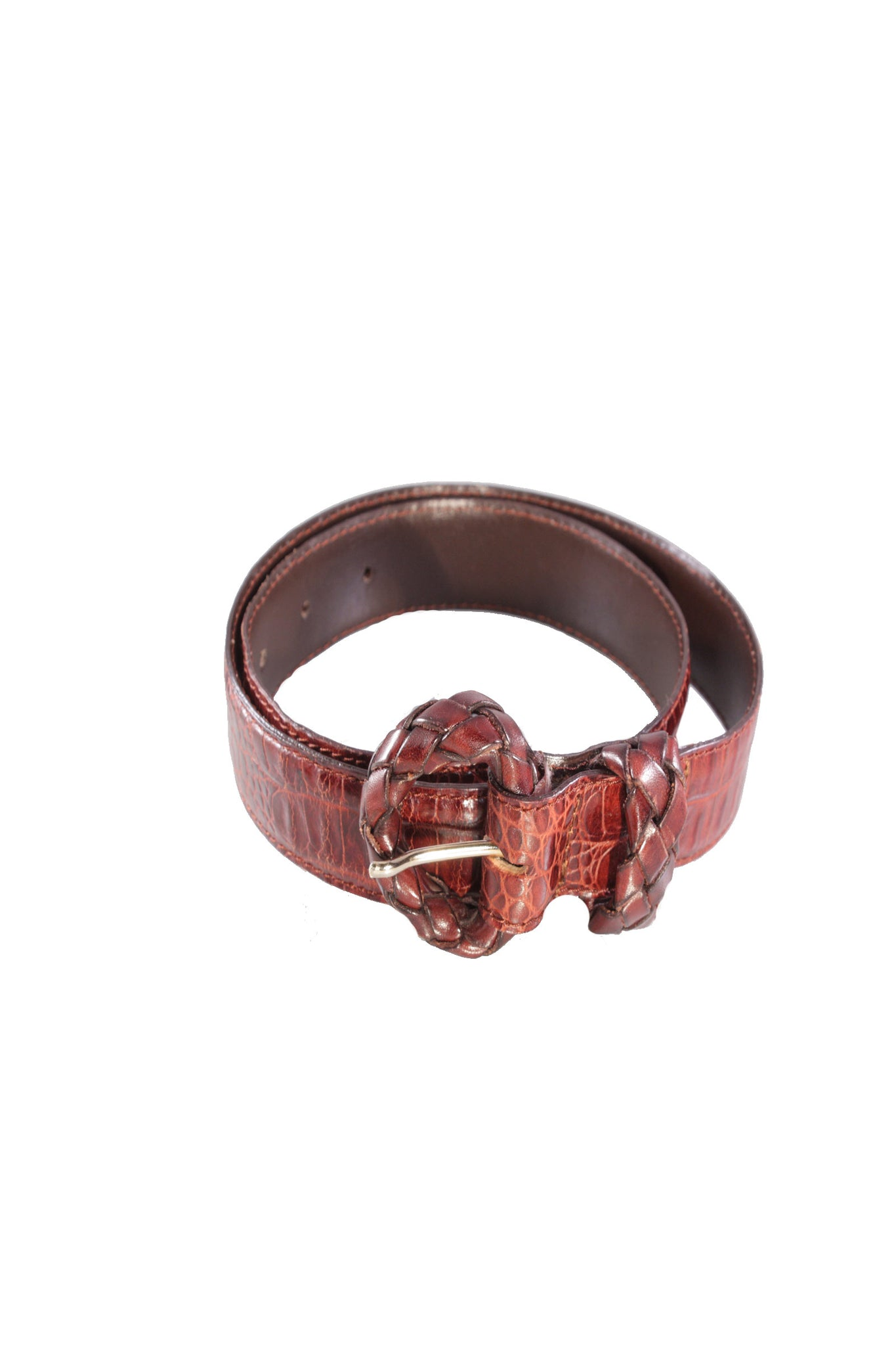 Vintage leather croc belt - SoLovesVintage