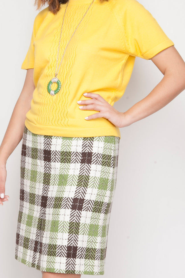 Vintage 50's checkered wool skirt - SoLovesVintage