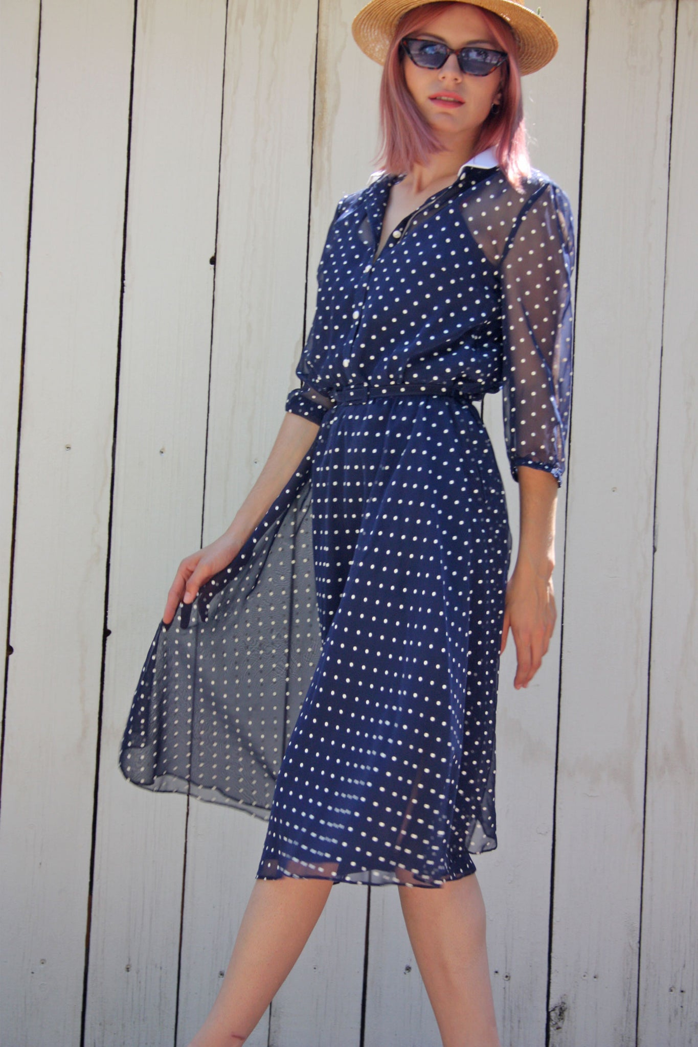 Vintage retro navy polka dot dress - Shop SoLovesVintage