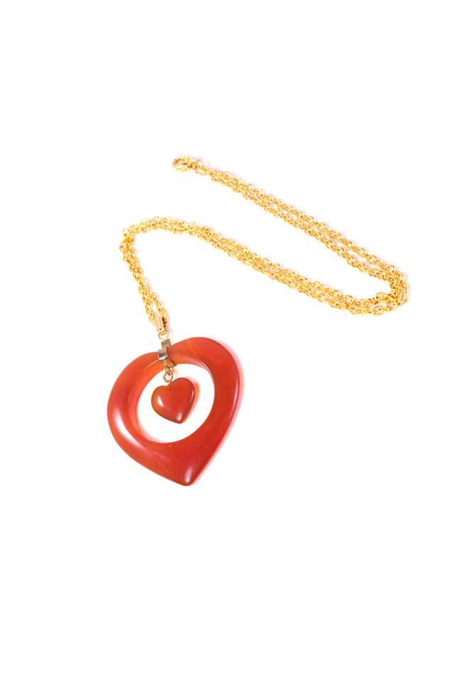 Vintage 60's gold heart shaped necklace - SoLovesVintage