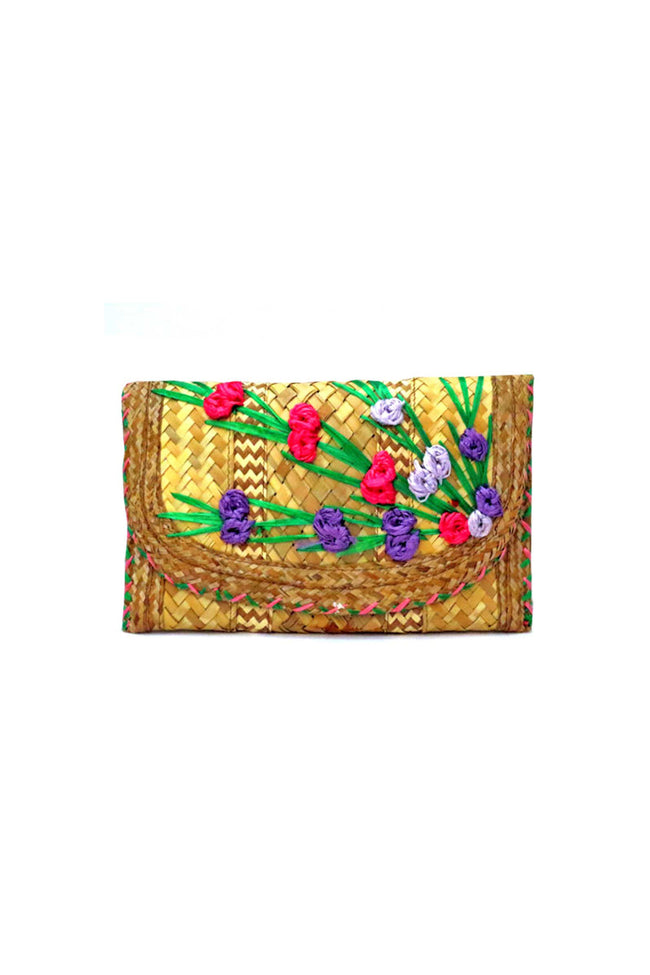 Vintage 40's straw raffia clutch with flowers - SoLovesVintage