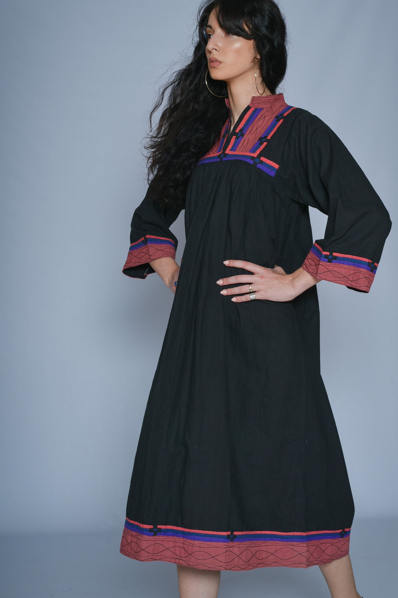 Vintage cotton boho dress in black
