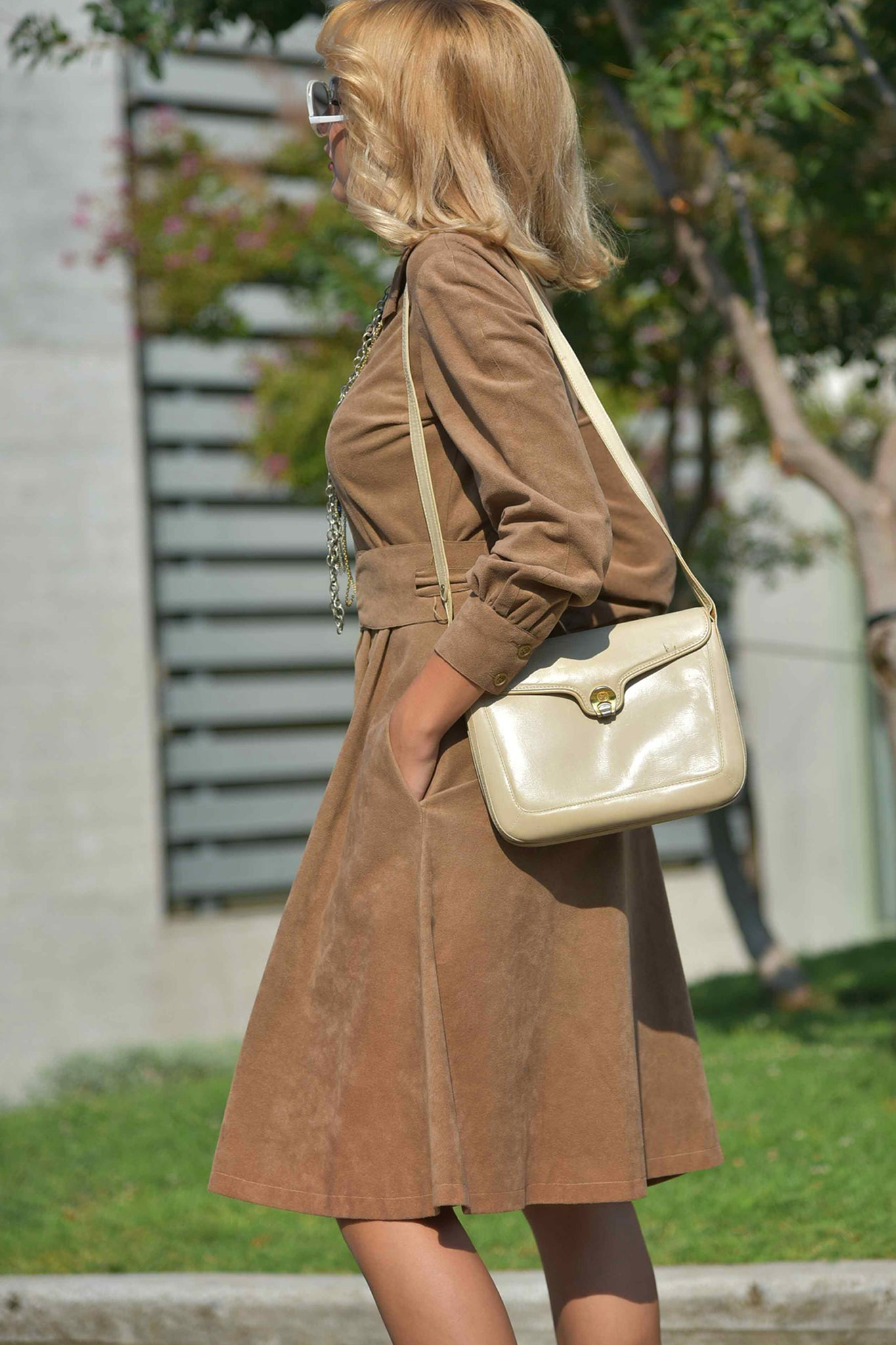 Vintage Mollie Parnis suede dress